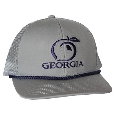 Peach State Pride Trucker Cap Logo Georgia Hat Red Embroidered