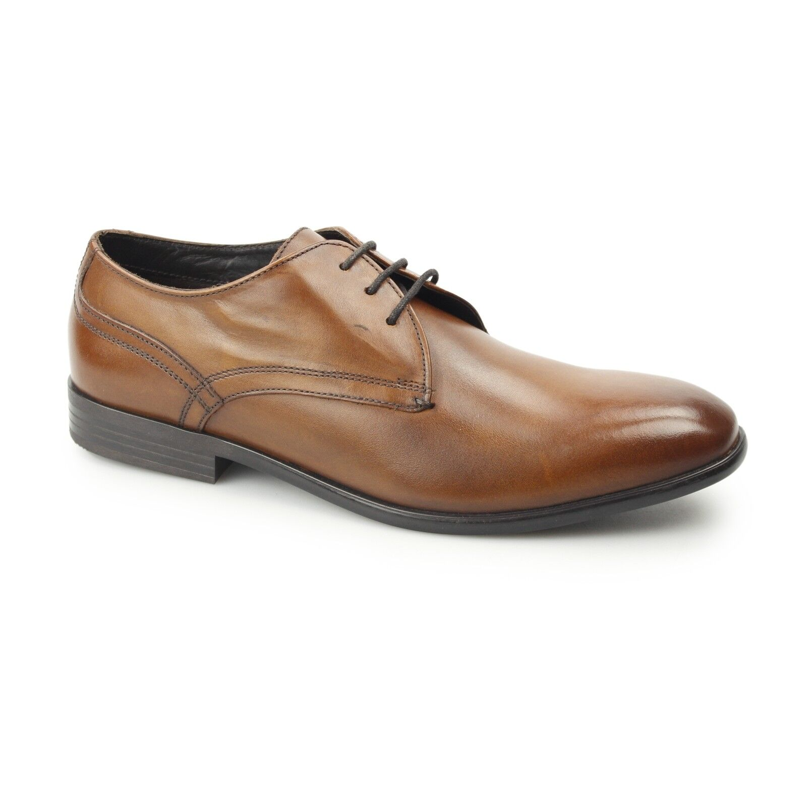 Base London PAGE Mens Formal Smart Washed Leather Plain Derby shoes Brown Tan