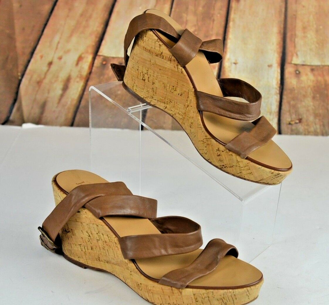 per il commercio all'ingrosso J. Crew Donna  Open Toe Toe Toe Wedge Sandals Dimensione 9 Marrone  Sevigne Washed Leather  Sconto del 70%