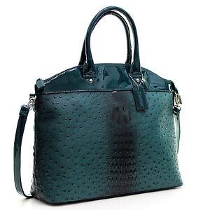 Dasein-Womens-Handbags-Ostrich-Leather-Tote-Bag-Shoulder-Bag-Satchel-Purse
