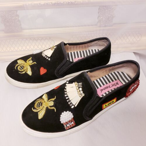 Betsey Johnson Coopers Bejeweld Velet Loafers Bead