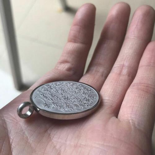 Allah Ayatul Kursi Stainless Steel Pendant Necklace Islam Muslim Arabic Silver