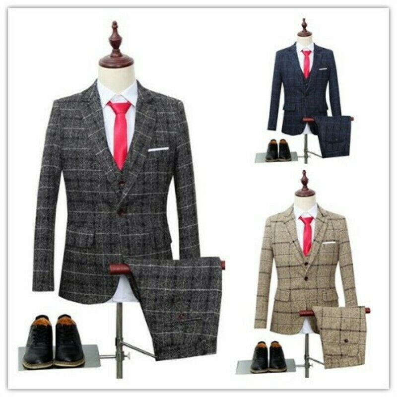 Men British Grid One Button Slim Wedding Business Blazer Pant Vest 3Pcs Suits Sz