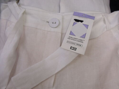 EX M/&S Pure Linen Flat Front Cropped Trousers with Belt White RECOMMENDED!!!