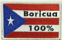 Puerto Rico Flag Embroidered Iron-on Patch Boricua 100% Emblem White Border
