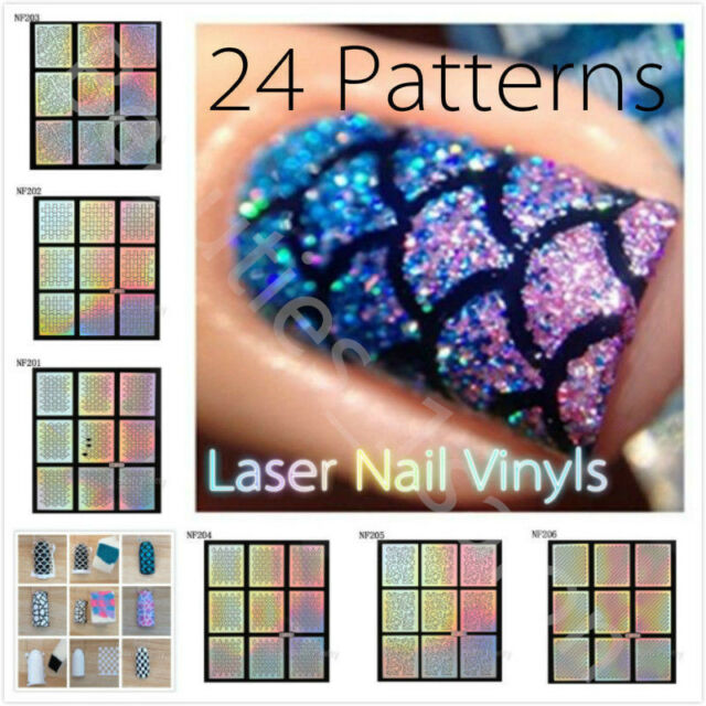 24Sheets Holo Laser Nail Art Stencils Vinyl DIY Manicure Stamp Template Stickers