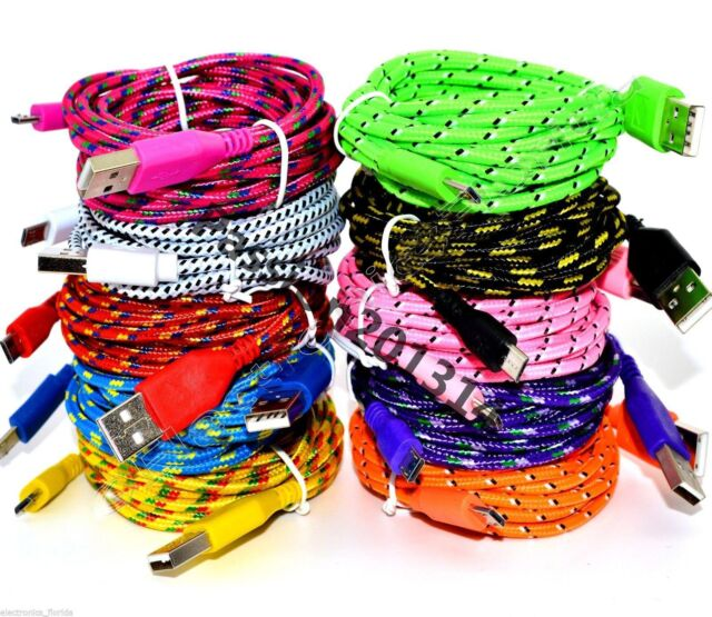 1M 2M 3M Braided Fabric Micro USB Data Sync Charger Cable Cord For Samsung Phone