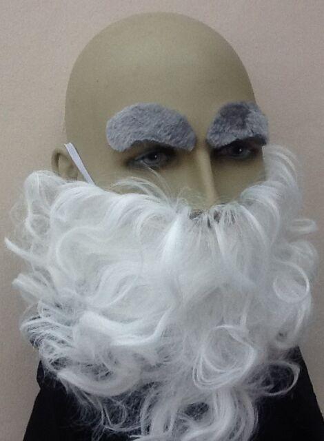 WIZARD FANCY DRESS GREY BEARD /& GREY EYEBROW SET DWARF GHOST OLD MAN GNOME