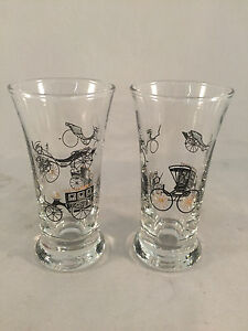 Lot-of-2-Black-Gold-Old-Wagon-Car-Carriage-Shot-Glasses-4-1-2-034-Tall