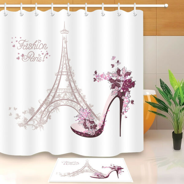 Fashion Paris Eiffel Tower Set Shower Curtain Bathroom Mat Polyester Fabric Hook Hover To Zoom