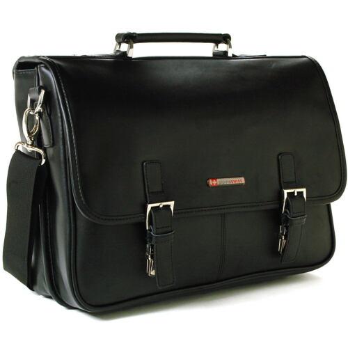 Alpine Swiss Leather Briefcase Laptop Case Messenger Bag *1 Year Mfgs Warranty*