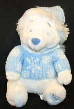 "White Winnie The Pooh Bear Disney Store PLUSH Blue Snowflake sweater Hat 11"""