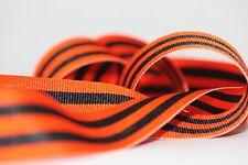 "Orange & Black Taffy Stripe Grosgrain Ribbon 7/8"" - 56yd 11"" - Free Shipping"