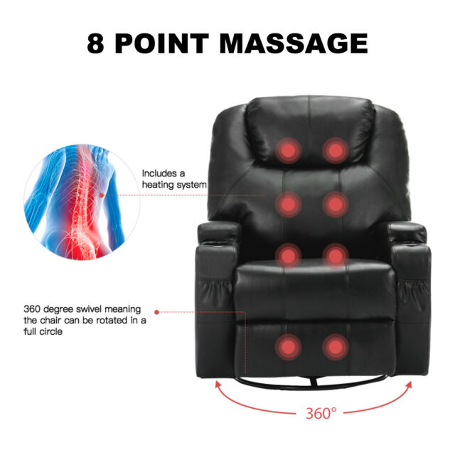 Electric Swivel Heated Massage Chair Leather Power Recliner Sofa