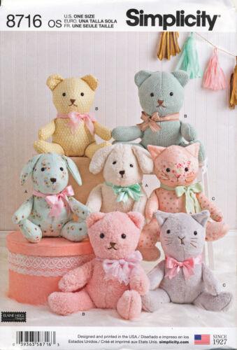 "TEDDY BEAR SIMPLICITY SEWING PATTERN 8716 14/""//35CM STUFFED SOFT TOYS DOG /& CAT"