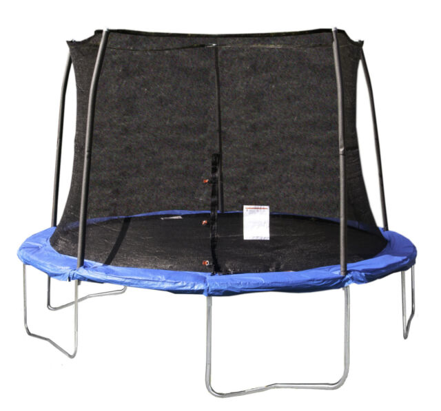 JumpKing 12 Foot Outdoor Trampoline and Safety Net Enclosure Combo, Blue JK12VC1