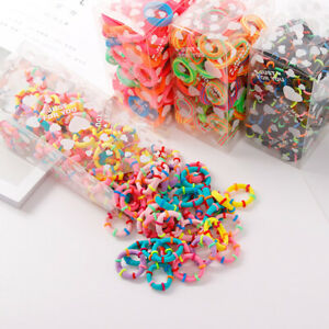 100-x-Quality-COLOURFUL-HAIR-BANDS-Elastics-Bobbles-Girls-School-Ponies-Ties-UK