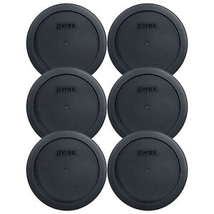 "Pyrex 7201-PC 6"" Black 4 Cup Plastic Storage Cover Lid 6 Pack New for Glass Bowl"