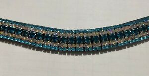 Gold Pearl /& Blue Crystal Browband Black or Brown 7 Pony cob or Full Horse