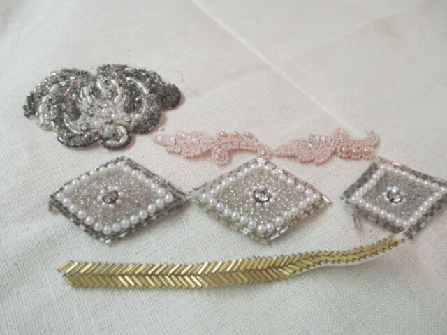 Vintage silver & white & gold & pink glass Beads 5 Flapper Dress Trim pieces