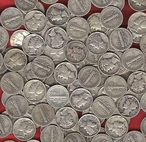 20-coin-LOT-US-MERCURY-DIMES-90-Silver-survivalist-barter-coins-before-1946
