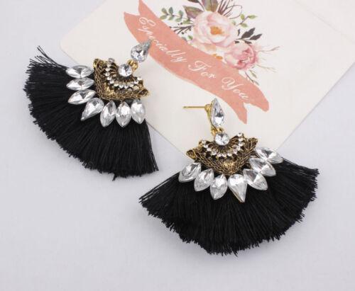 Femmes Mode Bohême Boucles d/'oreilles longues Vintage Tassel Fringe Boho Dangle Earrings
