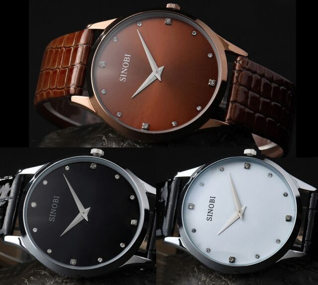 Superb Mens Wristwatch Black Brown Leather Ultra-thin Case Quartz Fashion Watch