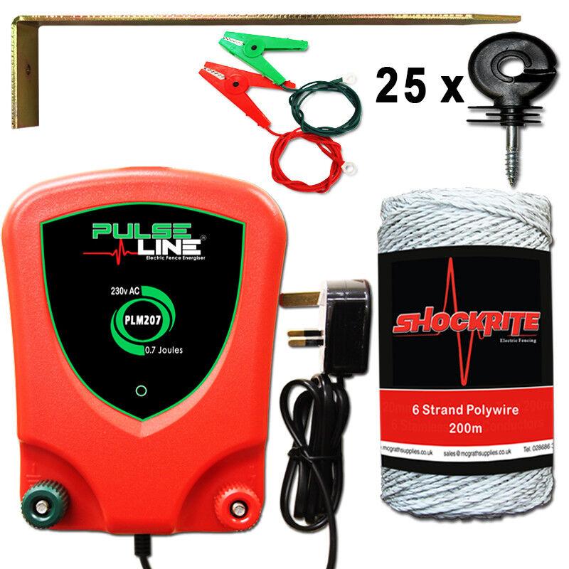 Electric Fence Mains Energiser  PLM207 0.7J White Wire Starter Kit