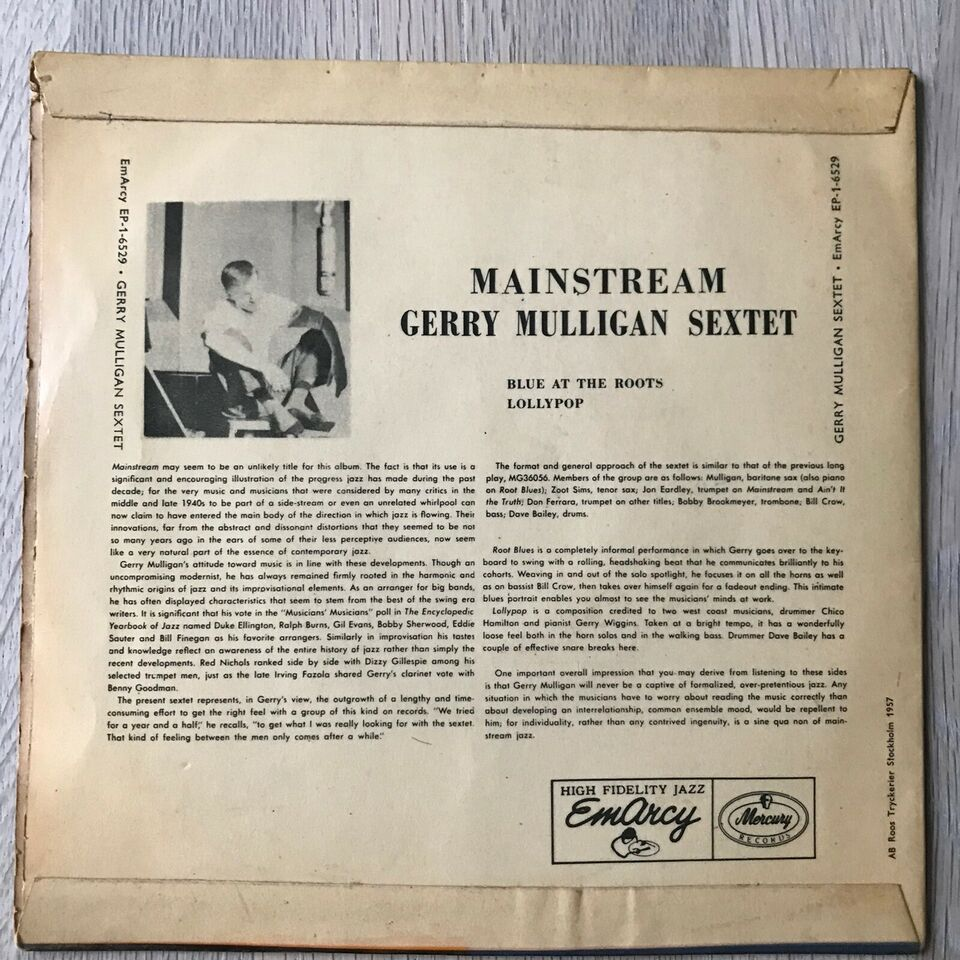 Single, Gerry Mulligan Sextet, Blue At The Roots/Lollypop
