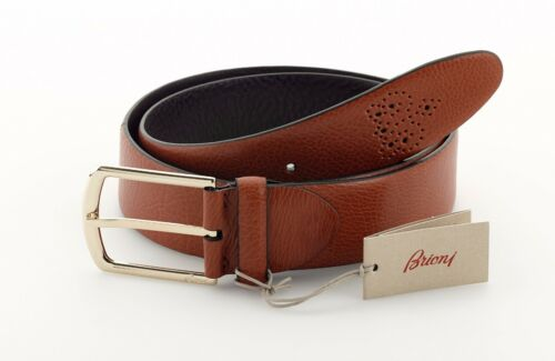 New BRIONI Genuine Leather Men's Belt Brown Handmade in Italy Size 40 105 L