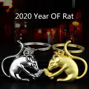 2020-Year-Of-Rat-Zodiac-Mouse-Keychain-Silver-Alloy-Car-Decor-Pendant-r