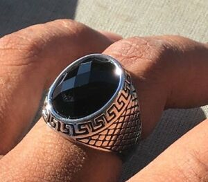 Men-039-s-Vintage-Crafted-STAINLESS-STEEL-316L-Silver-Natural-BLACK-ONYX-STONE-RING