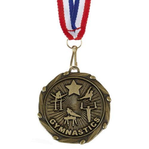 P Male gymnastique Médailles Avec Ruban-Gravure Gratuite de votre message-Gratuit P