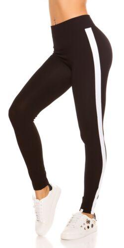 High Waist Damen Leggings mit Kontraststreifen