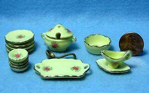 Dollhouse-Miniature-Dinnerware-Set-with-Plates-amp-Servers-15-Pcs-MT707