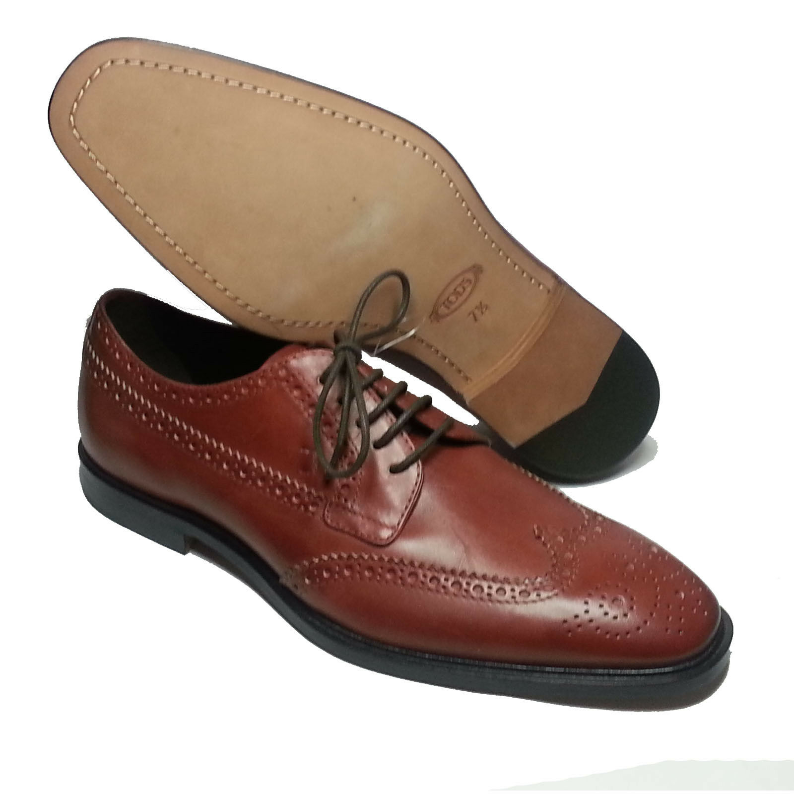 TOD'S TOD'S TOD'S Uomo Wingtip Brogue Brown Derby Shoes Size 8.5 Made in Italy d8604e
