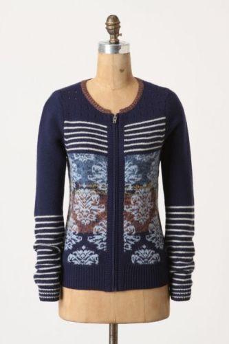Anthropologie Sparrow Arras bluee Zip Front Cardigan Sweater