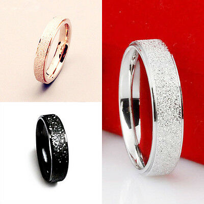 Fashion Men Women Engagement Band Ring Couple Rose Gold Frosted Stainless Steel