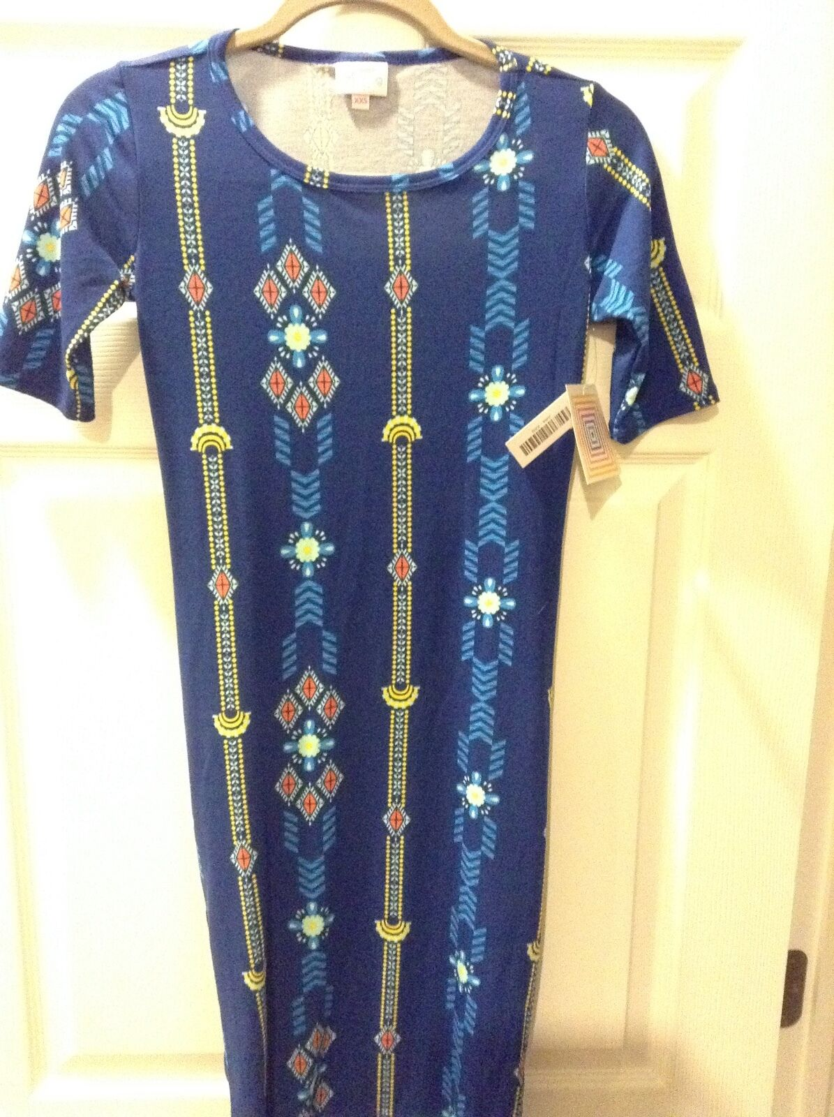 NWT Lularoe XXS Julia-Adorable bluee and gold Aztec print-perfect for summer