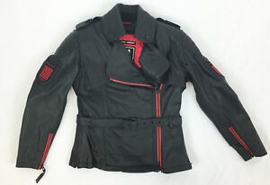 NEW-ICON-1000-FEDERAL-WOMAN-039-S-LEATHER-MOTORCYCLE-JACKET-BLACK-RED-M-MD-MEDIUM