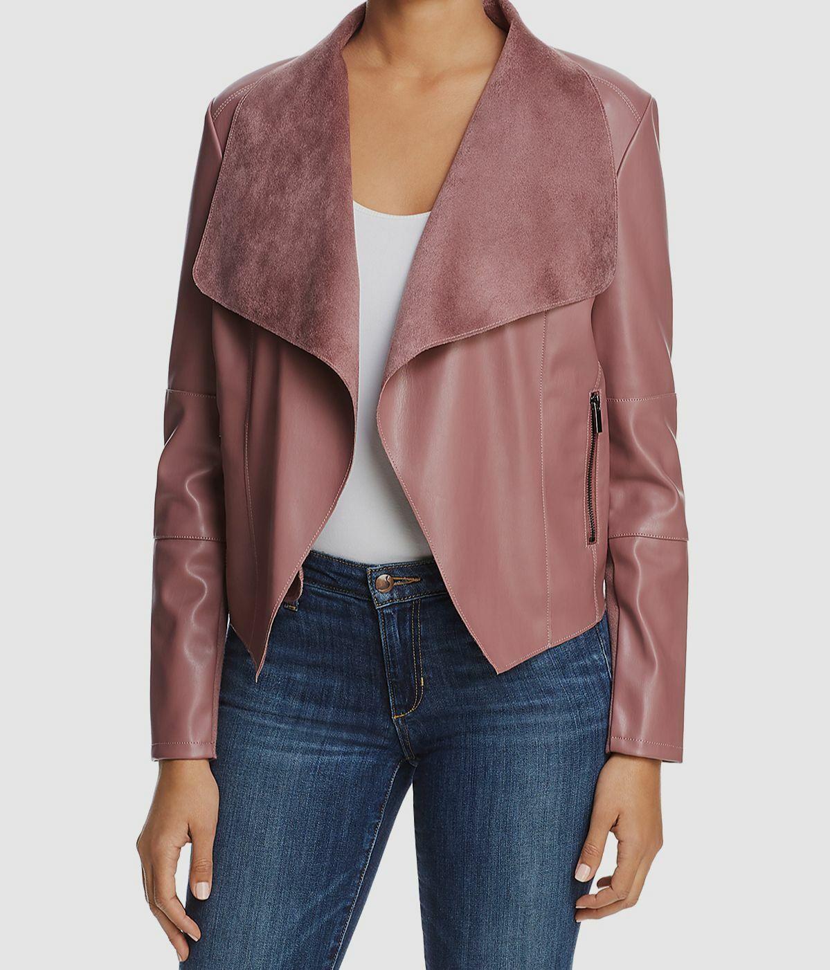 Bagatelle Women's Pink Draped Open-Front Long-Sleeve Casual Jacket Size S