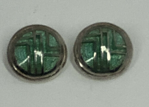 Vintage Sterling Silver Clip On Earrings With Gree