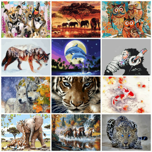 Brush Board Animals Painting By Numbers Kit Includes Paints