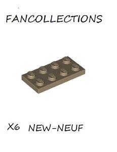 LEGO x 6 Tan Plate 2x4-3020  NEUF