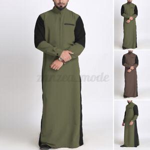 Mens-Clothing-Saudi-Arab-Long-Sleeve-Thobe-Islamic-Jubba-Thobe-Kaftan-Tunic-Tops