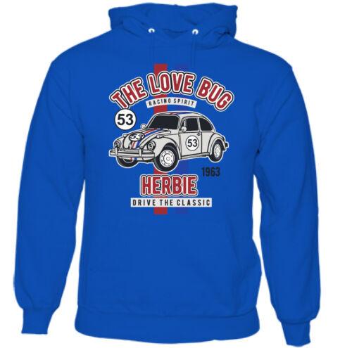 Love Bug Da Uomo Divertente Herbie Corse di Nuovo Felpa Con Cappuccio appassionati di auto