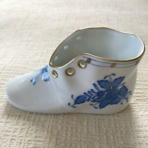 Herend Hungary Baby Shoe Blue Garland Figurine