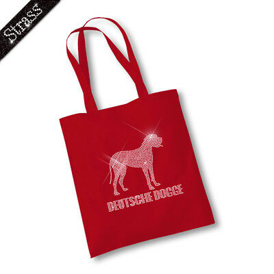 Jutebeutel Shopper Beutel Shopper Tasche Handtasche Strass Hund Deutsche Dogge