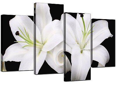 Large Floral Black White Orchids Canvas Wall Pictures Prints Art 4128