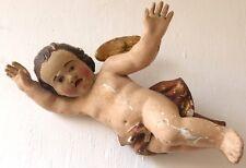 Ange d'Applique En Bois Sculpté, Polychrome Et Doré, époque XVIII ème